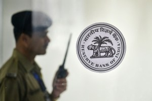 Mumbai: A security personnel stands guard during the RBI's bi-monthly policy review, in Mumbai, Thursday, June 6, 2019. (PTI Photo/Mitesh Bhuvad) (PTI6_6_2019_000048B)