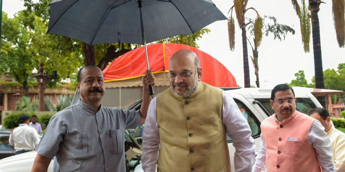 Home minister Amit Shah outside parliament. Image: PTI