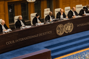 A view of the full bench of the International Court of Justice as the verdict is delivered in the Kulbhushan Jadhav case at The Hague on Wednesday, July 17. Photo: ICJ