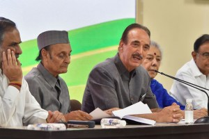New Delhi: Senior Congress leader Ghulam Nabi Azad addresses the media as party leaders (L-R) Anand Sharma, Karan Singh, Ambika Soni and P Chidambaram look on, in New Delhi, Saturday, Aug 3, 2019. (PTI Photo/Kamal Kishore) (PTI8_3_2019_000136B)
