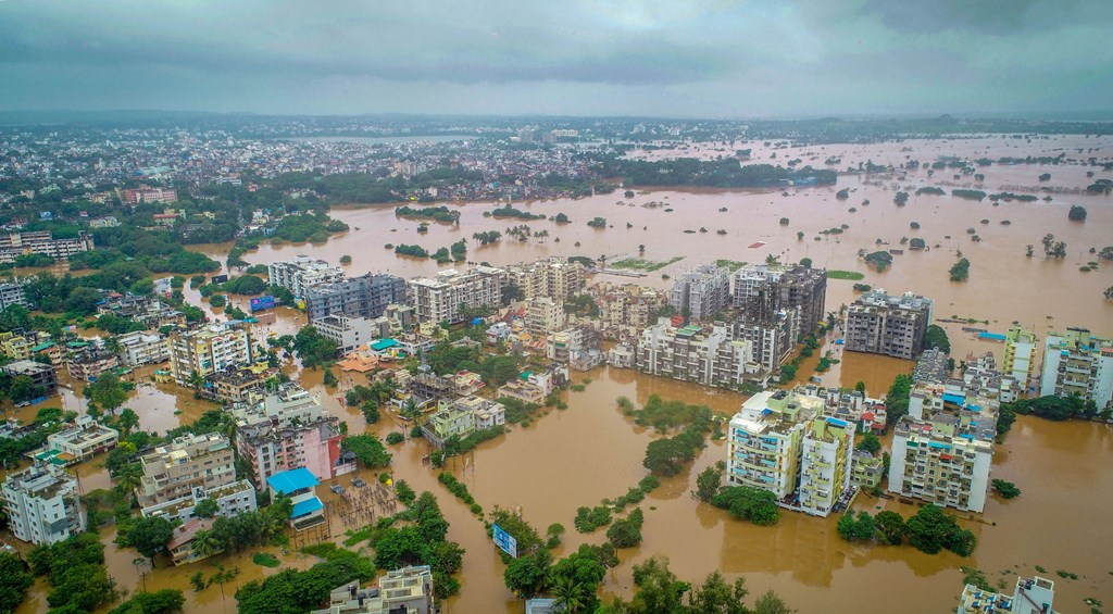 Kolhapur: A view of flooded area due to overflow of Panchganga river during monsoon season, in Kolhapur, Wednesday, Aug 7, 2019. (PTI Photo) (PTI8_7_2019_000215B)