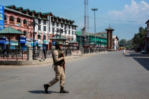 Srinagar: Security personnel patrols a deserted street at Lal Chowk on the 33rd day of strike and restrictions imposed after the abrogration of Article of 370 and bifurcation of state, in Srinagar, Friday, Sept. 6, 2019. (PTI Photo) (PTI9_6_2019_000065B)