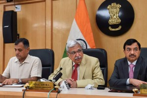 New Delhi: Chief Election Commissioner Sunil Arora flanked by Election Commissioners Ashok Lavasa (L) and Sunil Chandra during a press conference regarding Maharashtra and Haryana Assembly Elections, at Election Commission in New Delhi, Saturday, Sept. 21, 2019. (PTI Photo/Shahbaz Khan) (PTI9_21_2019_000021B)