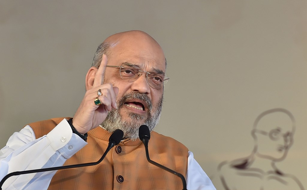 New Delhi: Union Home Minister Amit Shah speaks during the flag-off ceremony of the Delhi-Katra Vande Bharat Express from the New Delhi Railway Station, in New Delhi, Thursday, Oct. 3, 2019. (PTI Photo/Manvender Vashist) (PTI10_3_2019_000102B)