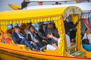 Srinagar: Members of European Union Parliamentary delegation during a shikara ride at Dal Lake in Srinagar, Tuesday, Oct. 29, 2019. Protest broke out in many parts of the city as a European Union MPs visited the valley (PTI Photo/S. Irfan)(PTI10_29_2019_000222B)
