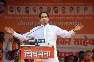 Aurangabad: Shiv Sena party chief Uddhav Thackeray addresses in support of BJP-Shiv Sena candidate Ramesh Bornare ahead of the Maharashtra Assembly polls, at Vaijapur in Aurangabad district of Maharashtra, Thursday, Oct. 10, 2019. (PTI Photo) (PTI10_10_2019_000131B)