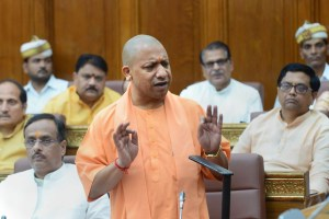 Lucknow: Uttar Pradesh Chief Minister Yogi Adityanath addresses during the 36-hour special session in the UP Assembly to mark the 150th anniversary of Mahatma Gandhi, in Lucknow, Thursday, Oct. 3, 2019. (PTI Photo)(PTI10_3_2019_000151B)