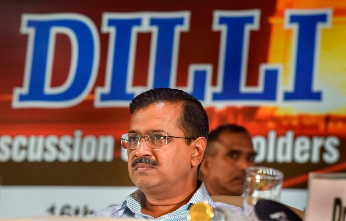 New Delhi: Delhi Chief Minister Arvind Kejriwal  during 'Assocham Dilli ki Soch', a discussion of stakeholders on governance and development, in New Delhi, Wednesday, Oct. 16, 2019. (PTI Photo/Manvender Vashist) (PTI10_16_2019_000039B)