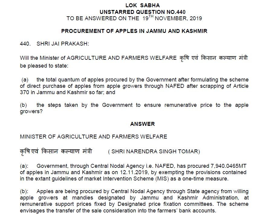 Jammu kashmir apple procurement