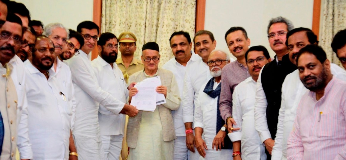Mumbai: 'Maha Vikas Aghadi' MLAs and leaders submitted a letter to Governor Bhagat Singh Koshyari declaring Shiv Sena Chief Udhhav Thackeray as their leader at Raj Bhavan, Mumbai, Tuesday, Nov 26, 2019. (PTI Photo)(PTI11_26_2019_000303B)