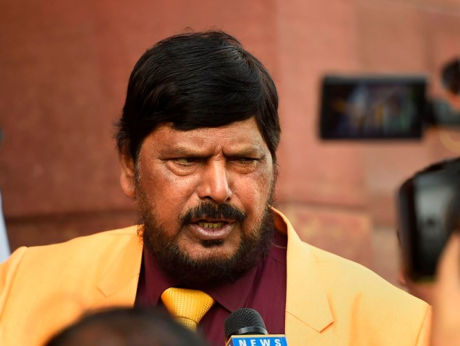 New Delhi: Union Minister Ramdas Athawale speaks to media on the first day of the Winter Session of Parliament, in New Delhi, Monday,  Nov. 18, 2019. (PTI Photo/Kamal Singh) (PTI11_18_2019_000272B)