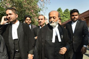 New Delhi: Sunni Waqf Board lawyer Zafaryab Jilani along with other advocates comes out  of the Supreme Court after the Ayodhya case verdict, in New Delhi, Saturday, Nov. 9, 2019. (PTI Photo/Arun Sharma)  (PTI11_9_2019_000065B) *** Local Caption ***