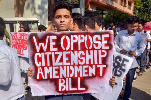 Guwahati: Students hold placards during a protest rally against the Citizenship Amendment Bill, in Guwahati, Tuesday, Dec. 3, 2019. (PTI Photo)(PTI12_3_2019_000079B)