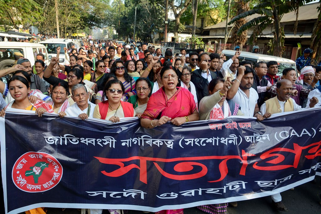 Guwahati: Activists of All Assam Students Union (AASU) along with members of different organizations during the 2nd day of their 'Satyagraha' protest demanding withdrawal of the Citizenship Amendment Act 2019 (CAA), in Guwahati, Tuesday, Dec. 17, 2019. (PTI Photo)  (PTI12_17_2019_000065B)