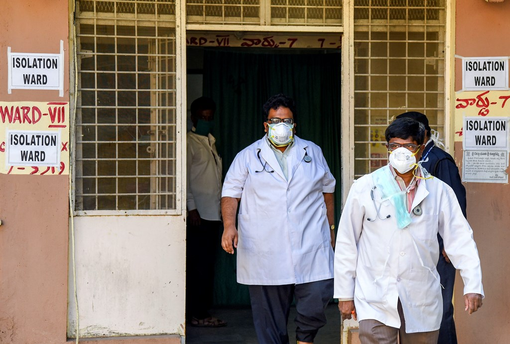 Hyderabad: Hospital staff is seen outside the Special Isolation Ward set up to provide treatment to any suspected case of the coronavirus (CoV), in Hyderabad, Monday, Jan. 27, 2020. (PTI Photo)(PTI1_27_2020_000180B)