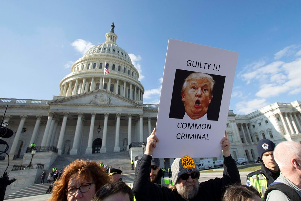 Washington: Demonstrators protest outside of the Capitol during the Senate impeachment trial of President Donald Trump in Washington, Wednesday, Jan. 29, 2020AP/PTI(AP1_30_2020_000011B)