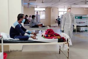New Delhi: Medics organize special yoga classes for COVID-19 patients at a hospital, during the ongoing nationwide lockdown, in New Delhi, Saturday, May 09, 2020. (PTI Photo)(PTI09-05-2020 000040B)