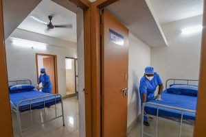 Chennai: Health workers prepare a temporary set-up of 1450 beds for COVID-19 patients, during the ongoing nationwide lockdown, in Chennai, Saturday, May 30, 2020. Tamil Nadu Housing board quarters converted into a COVID Care Centre for quarantine. (PTI Photo/R Senthil Kumar)(PTI30-05-2020_000061B)