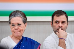 **EDS: FILE** New Delhi: In this file photo dated Saturday, Aug 10, 2019, Congress President Rahul Gandhi with senior party leader Sonia Gandhi during Congress Working Committee (CWC) meeting, at AICC HQ in New Delhi. Ahead of the Congress Working Committee meeting on Monday, Aug. 24, 2020, different voices have emerged within the party with one section comprising sitting MPs and former ministers demanding collective leadership, while another group has sought the return of Rahul Gandhi to the helm. (PTI Photo/Atul Yadav)(PTI23-08-2020_000092B)