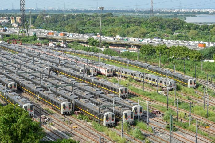 New Delhi: Metro trains parked at DMRC depot at Khyber Pass, during Unlock 3.0, in New Delhi, Tuesday, Aug. 25, 2020. Metro train services may be allowed in the Unlock 4 phase beginning September 1. (PTI Photo/ Shahbaz Khan)(PTI25-08-2020 000139B)