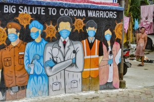 Kolkata: A wall mural to pay tribute to corona warriors, during the biweekly lockdown to curb COVID-19 spread, in Kolkata, Monday, Sept. 7, 2020. (PTI Photo/Swapan Mahapatra) (PTI07-09-2020 000159B)