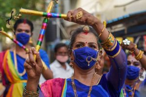 Chennai: Members of the transgender community take part in an awareness rally on coronavirus pandemic after authorities eased restrictions, in Chennai, Thursday, July 23, 2020. Credit: PTI Photo