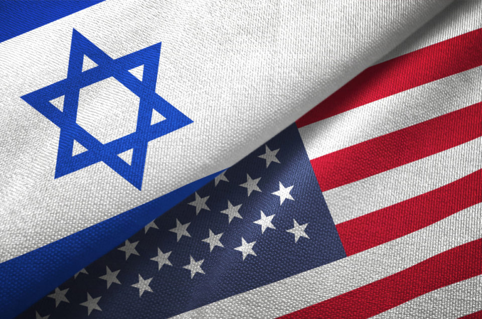 United States and Israel flag together realtions textile cloth fabric texture
