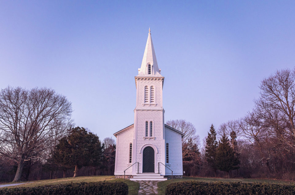 Narragansett, RI. The South Ferry Church was built in the 1850's for the Narragansett Baptist Church. It's one of the finest examples of an early Victorian church.