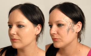 girl before and after tattoo covered