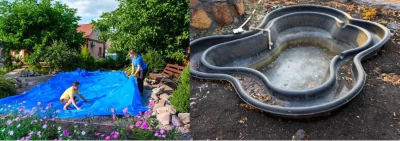 Side by side comparison of a flat pond liner and a preformed liner