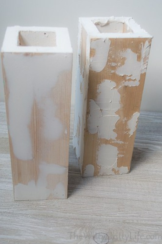 marble lamp columns with spackling applied and sanded