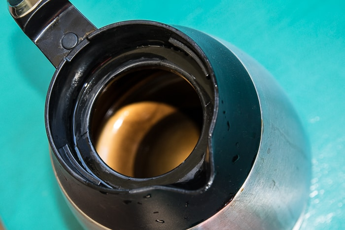 picture of thermal coffee pot with coffee stains inside