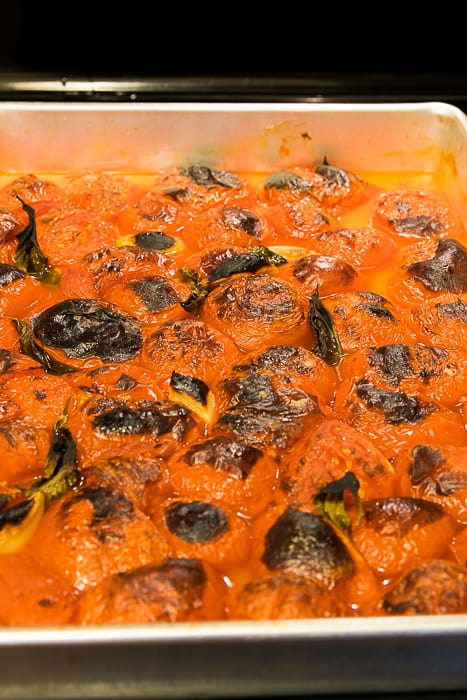 Picture of charred tomatoes after broiling