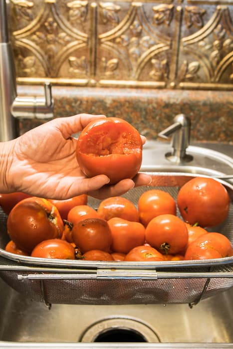 Picture of cored tomato held up