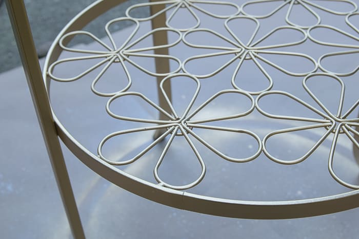 picture of gold spray painted floral element of Ikea Klingsbo table