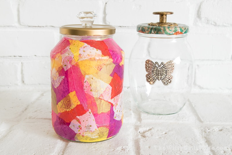 two different up-cycled jars