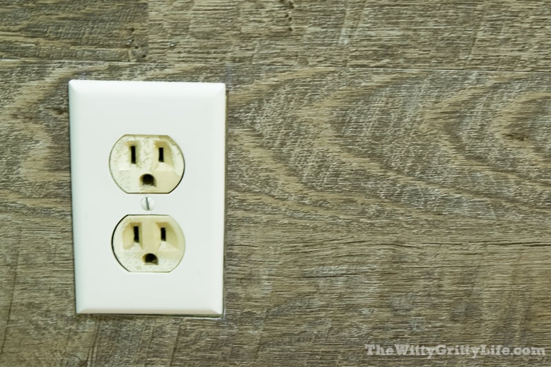 vinyl look planks and electrical outlet