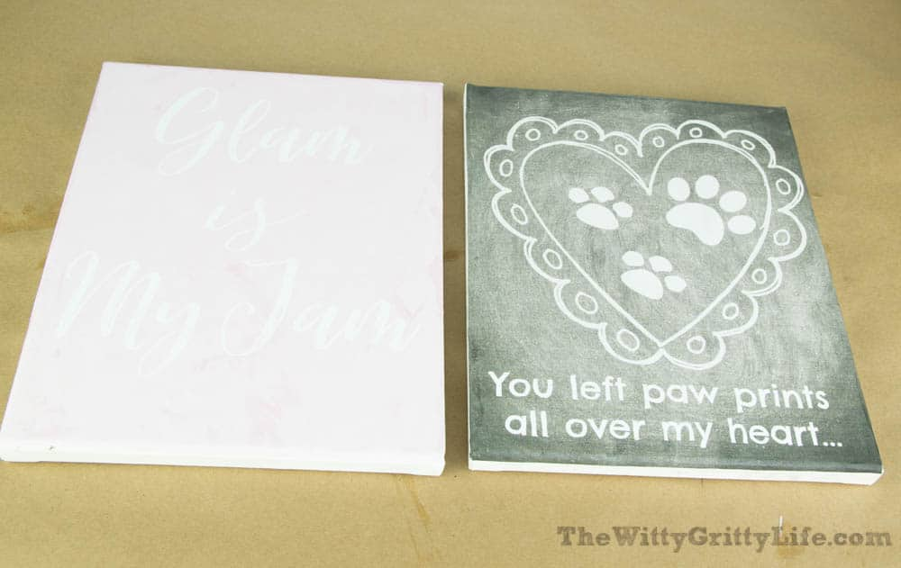 two of the free printables mounted on canvas for diy wall signs with quotes