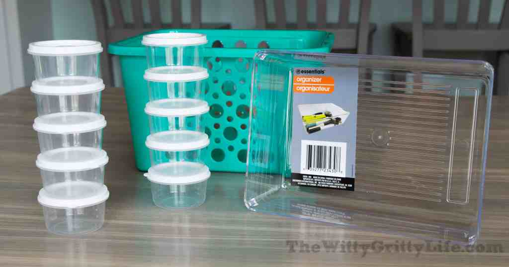 Just a few storage items you can find at dollar tree: small lidded containers, clear bins, small baskets