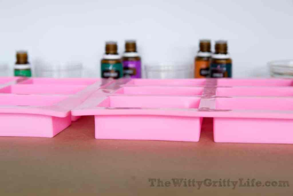 silicone mold and essential oils ready for homemade soap