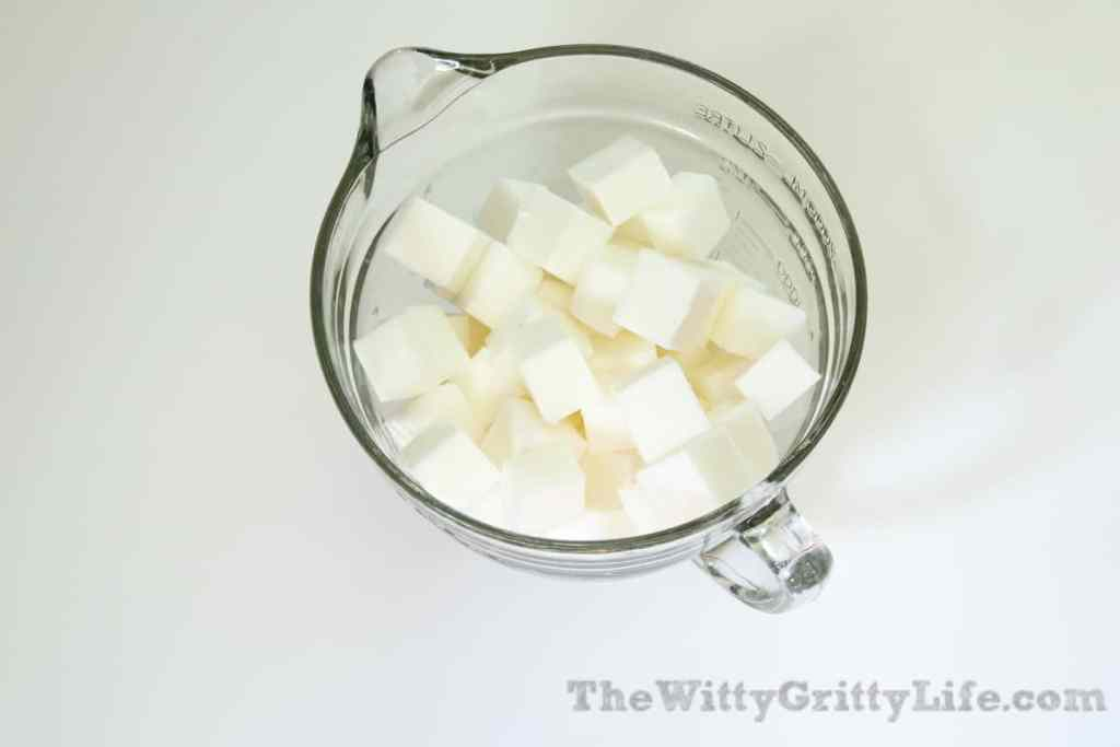 soap chunks in bowl, ready for melting in microwave or double boiler for homemade soap