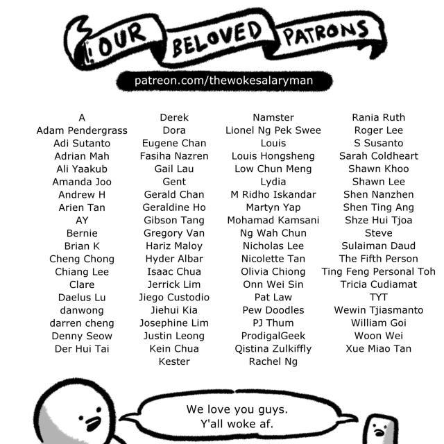 Our beloved patrons! patreon.com/thewokesalaryman