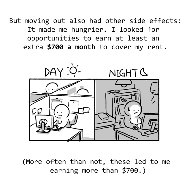 But moving out also had other side effects: It made me hungrier. I looked for more opportunities to earn at least $700 a month to cover my rent. (More often than not, these led me to earning more than $700.)