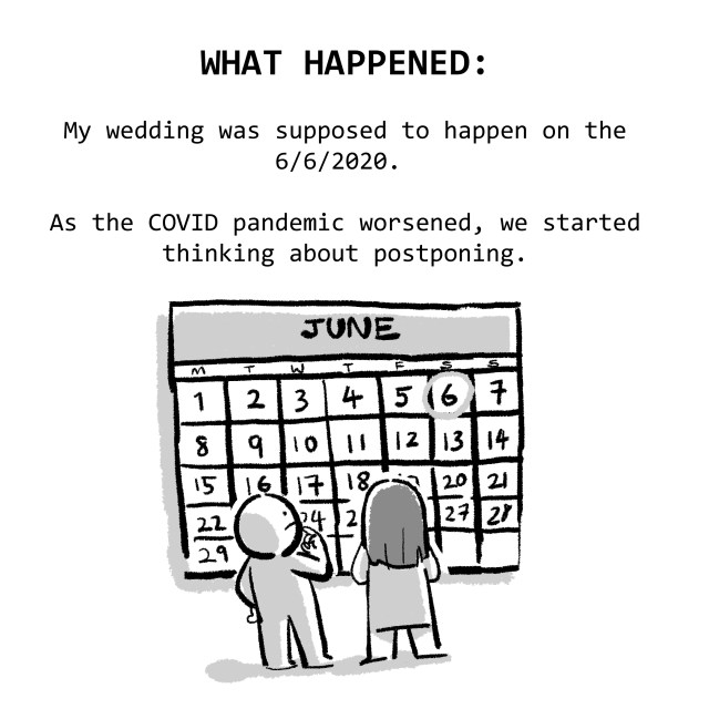 WHAT HAPPENED: My wedding was supposed to happen on the 6/6/2020. As the COVID pandemic worsened, we started thinking about postponing.