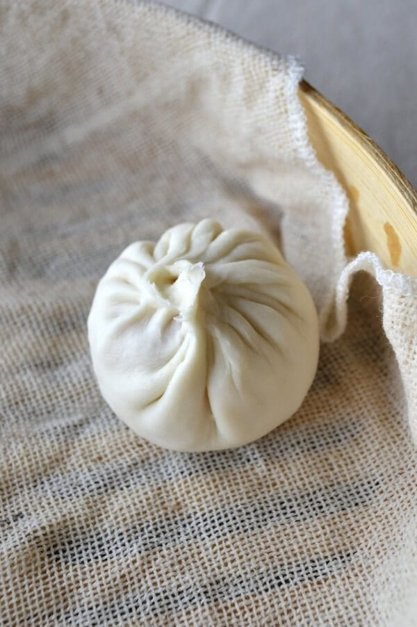 Single soup dumpling with many folds, by thewoksoflife.com