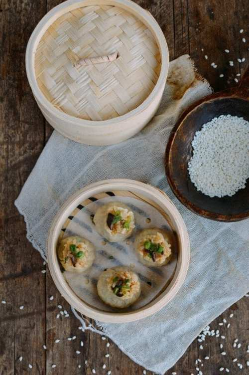 Sticky Rice Mushroom Shumai With Homemade Wrappers - Vegan Chinese Recipes