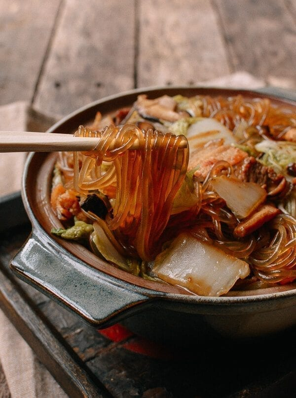 Glass Noodles with Pork  Napa Cabbage