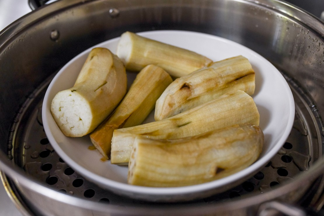 Steamed eggplant pieces