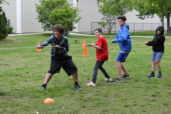 Students take part in a tug of war