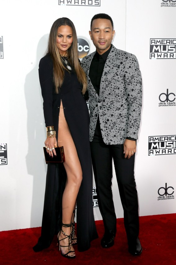 lLOS ANGELES, CA - NOVEMBER 20: Model Chrissy Teigen (L) and singer-songwriter John Legend attend the 2016 American Music Awards at Microsoft Theater on November 20, 2016 in Los Angeles, California. (Photo by Frederick M. Brown/Getty Images)